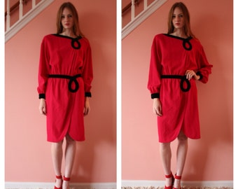 SALE Valentino Dress / Velvet & Wool Holiday Party Dress /  Suit Dress / Made in Italy / Red and Black Dress / Workwear / Size Small-Medium