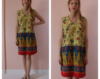 SALE 70s Tunic Dress /  60's Shift Mini Dress / Bohemian Cotton Collar Dress / Ethnic Printed Dress / Size Small-Medium