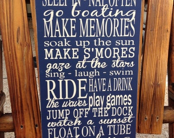 Personalized Lake House Rules Wood Sign ~Family Rules Sign ~Personalized Gift ~Lake House ~Lake House Wall Art~Vacation Home Sign~Typography