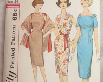 Simplicity 3793 Misses Bow Sheath Dress Vintage Sewing Pattern Bust 34
