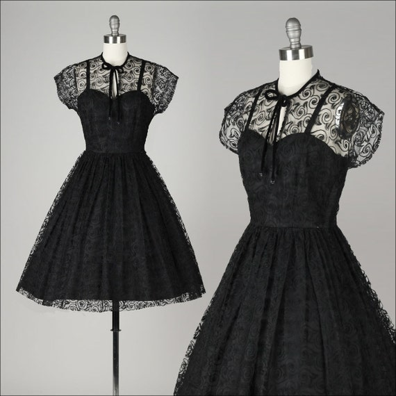Vintage 1950s Dress Black Swirl Lace Illusion Bodice