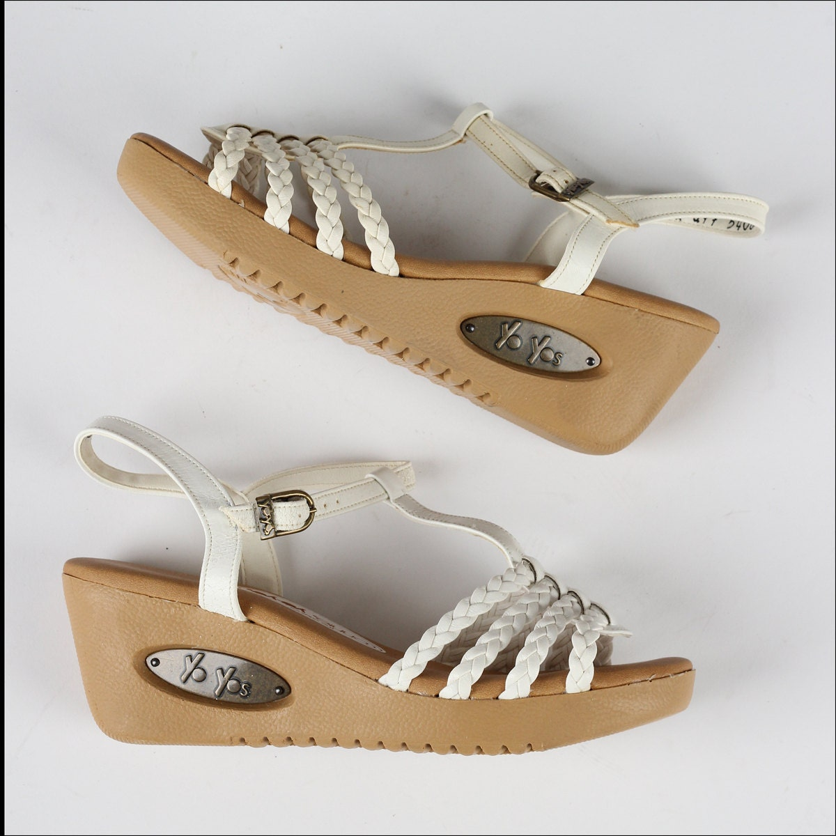 Vintage 1970s Shoes White Braided Leather Yo Yos Wedge