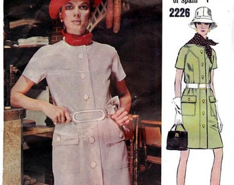 60s PERTEGAZ Coatdress Pattern Vogue Couturier Design 2226 Vintage Sewing Pattern Size 12 Bust 34 UNCUT Factory Folded with label