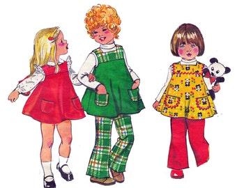70s Retro Toddler Girls Jumper & Bell Bottom Pants Pattern Simplicity 5872 Vintage Sewing Pattern Size 4 Breast 23 inches