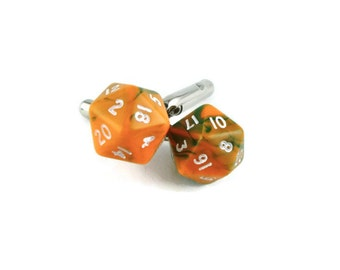 D20 Cufflinks Mini Orange, Dice Cufflinks, Nerdy Wedding, Men's Wedding, Dungeons and Dragons, dice jewelry, DND Cufflinks, Geeky Cufflinks