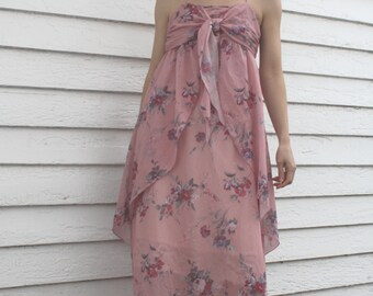 Maxi Dress Pink Floral Sheer Print Hippie Summer 70s Vintage S Supermodel Length