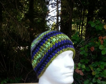mens hat, boys beanie, crochet hat, black, blue, apple green, gold, mauve, vegan friendly, hats for men, multi-colored, youth/adult 2743