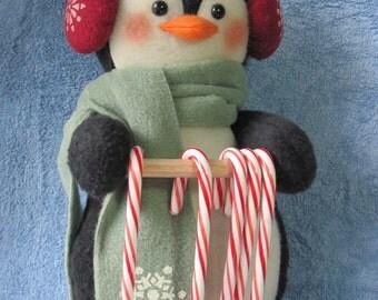 "Penguin pattern:  ""Penguin Candy Cane Holder"" - #645"
