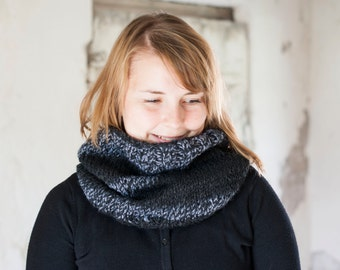 Knitted soft snood in black and gray hand knit autumn accessory cowl or neckwarmer