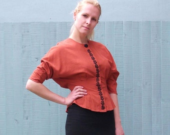 Vintage Fitted Terracotta Blouse with Black Embroidery Detail