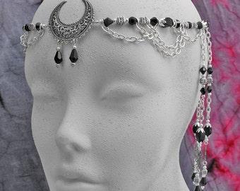 CIRCLET Moon Goddess Crown Black Onyx & Crystal Wiccan Circlet Lunar Goddess Circlet silver elven circlet, elven headpiece wedding tiara