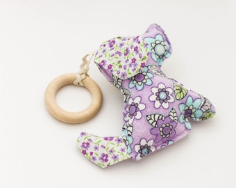 Lavender Teething Toy \ Baby Comforter \ Stuffed Dog made in Israel by CasaDeGato