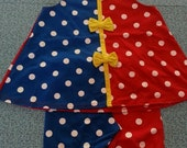 Vintage 1980's Red and Blue with White Polka Dot Jumper and Shorts Shirt Dress Leggings with Yellow Bows Girls Size 4T Childresn's Kid's