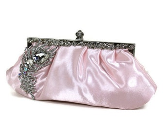 Soft Pink Bridal Clutch, Vintage Style Wedding Clutch, Satin Bridal Clutch, Wedding Purse with Crystal Peacock Brooch