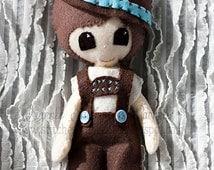"SALE- RTS Hansel Felt Doll - 9-1/4"" Handmade Doll - Grimm's Fairy tale - Softie - Ready To Ship - Gingermelon Doll"