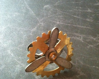Brass Gear and Antiqued Silver Propeller Steampunk Adjustable Ring