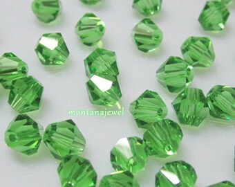 50 Green Bicone Glass Beads 4mm Beads