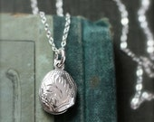 Teeny Tiny Silver Locket Necklace, Vintage Sterling Silver Simple Engraved Pendant - Lady Like