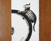Mr Kat vs the Butterfly Fine Art Bicyle Screenprint Relief Print Cat Silkscreen Linocut