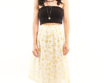 LUCY 70s Sweet Boho High Waisted Floral Pleated Prairie Yellow Calico Rustic Folk Skirt Small