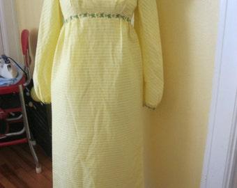 Vintage Dress, Yellow, Empire Waist, Retro, Long, Maxi Dress