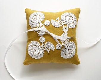 Ring Pillow, Sample Sale, Ring Bearer Pillow, Lace Pillow, Fall Wedding