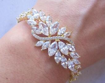 Gold Wedding Bracelet, Cubic Zirconia Bracelet, Crystal Bridal Bracelet - RUE VIETE