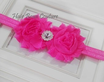 Infant Newborn Shocking Pink Shabby Flower Headband w/ Rhinestone, Dressy Flower Headband, Newborn Baby Headband Photo Prop Gift