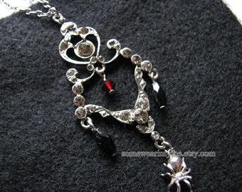 Spider web necklace | silver pendant | delicate | rhinestone