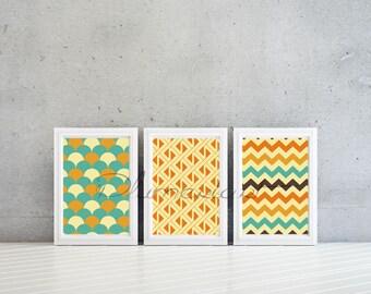 Geometric pattern wall art , livingroom decor , prints for your home Set of 3