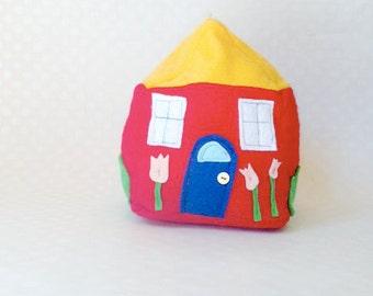 Maisey's House Felt Pillow - Red