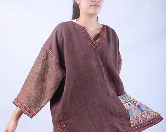 100 percent hemp Top Jacket Blouse Brown handmade embroidery