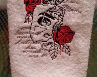 Phantom of the Opera Inspired Embroidered on WHITE Towel or Quilt Block Square