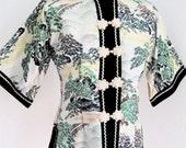 Vintage Handmade Embroidered Brocade Satin Jacket Green White Gold Chinese Landscape Motif