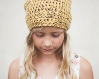 Yellow Slouchy Hat for Girls, Crochet Slouch Hat, Slouchy Beanie, Boy's Hat, 12 Months to Adult (Morgan)