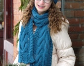 Lacy Cables Hat and Scarf Set - Knitting Pattern