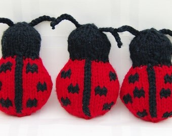 Custom Order for HiddenLakesVintage - two Hand-knitted Stuffed Ladybugs