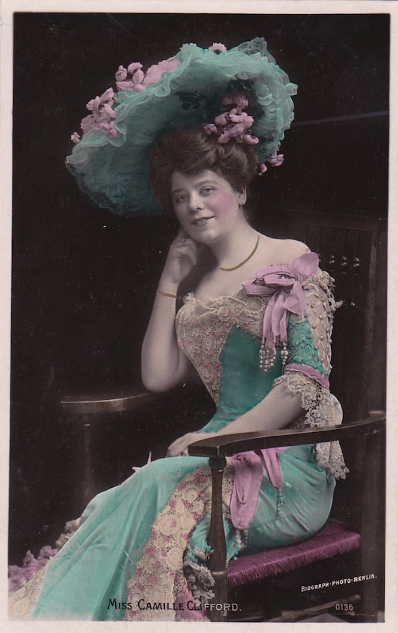 Stage Actress Camille Clifford in Aqua Blue Gown..circa 1907