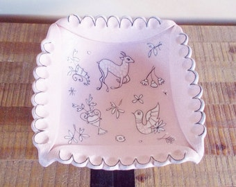 Large Italian Pink Pebbled Art Pottery Bowl with Deer, Birds and Flowers