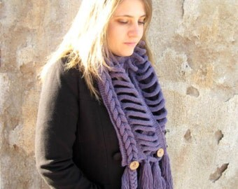 Purple Scarf - Wrap, Warm, Knit Braid Scarflette, Neckwarmer, Cowl - Ready to Ship - GIFT FOR HER