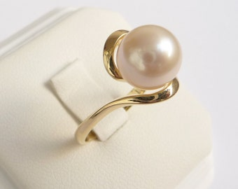 Pearl engagement ring gold pearl ring womens ring smooth white 10mm pearl 14k yellow solid gold