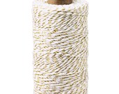 Bakers Twine 240 yard spool  -BLEACHED white with metallic Gold TINSEL - String for crafting, gift wrapping, packaging, invitations