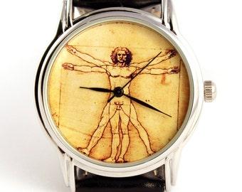 Watch Da vinci art  Vitruvian Man by Leonardo da Vinci, wrist watch, mens watch, quartz watch, watch