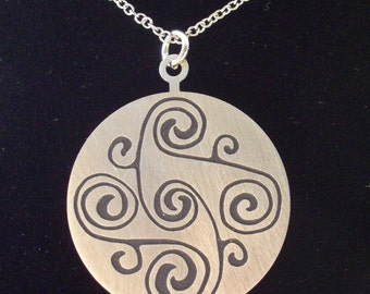 Celtic Spiral Necklace with Black Spirals