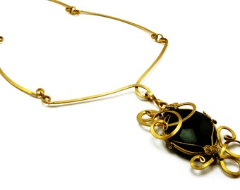 Brass Necklace, Choker Choker Necklace, Black Stone Choker, Baroque Choker, Black Pendant, Vintage Style, Wire Wrap Pendant