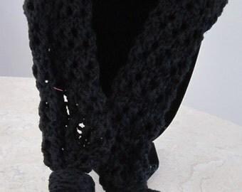 Divadezines Classic Black  / Lacey Knitted Shawl / Black Scarf / Black Wrap