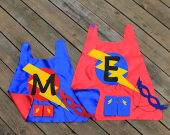 2 Super Sibling Hero Capes - Included 2 Personalized SUPERHERO CAPES + Accessories - Big Brother Little Brother Gift Set - Kid Pretend Play