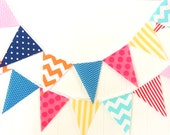 Banner Bunting, Fabric Pennant Garland Flags, Baby Shower Banner, Nursery, Photo Prop, Birthday Party, Red, Pink, Navy, Orange, Aqua, Yellow