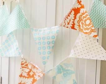 Fabric Banner, Bunting Pennant Flags, Baby Shower,Orange, Turquoise, Chevron, Butterfly, Girl Room Decor, Birthday Party Garland, Wedding