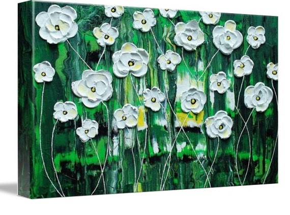 LE Deep Canvas Wrap Giclee Print of Original Painting Emerald Rain Blossoms Amber Elizabeth Lamoreaux Impasto White Flowers Green Signed